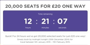 FlyBe 20,000 seat for £20! 24 hours Only