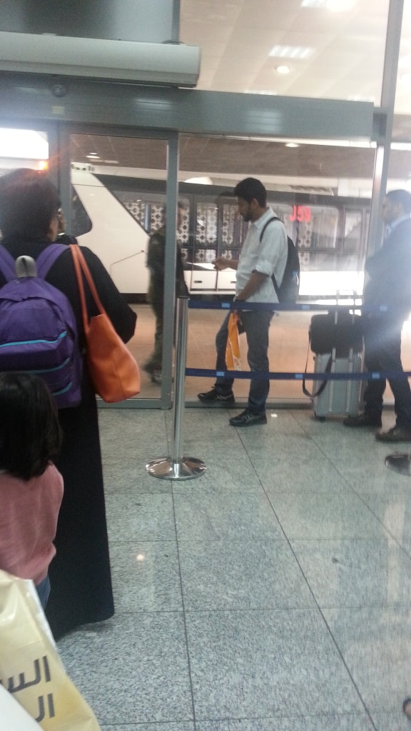 Saudia waiting for the airport bus