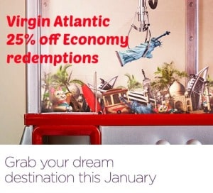 Virgin Atlantic & Little Red 25% off Economy Award until the end of 2015