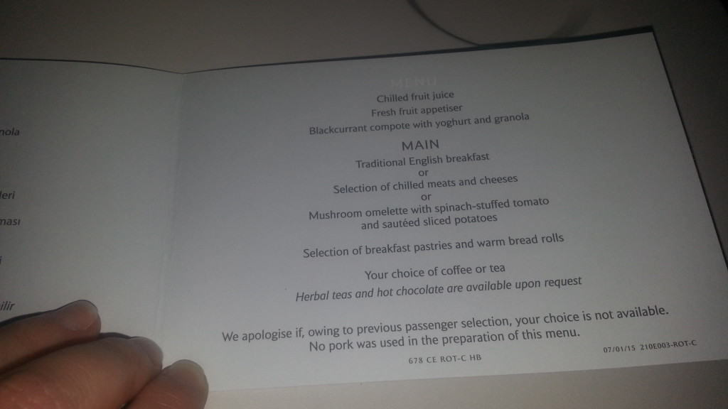British Airways Club Europe menu