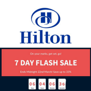 Hilton Hotel sale up to 33% off in EMEA