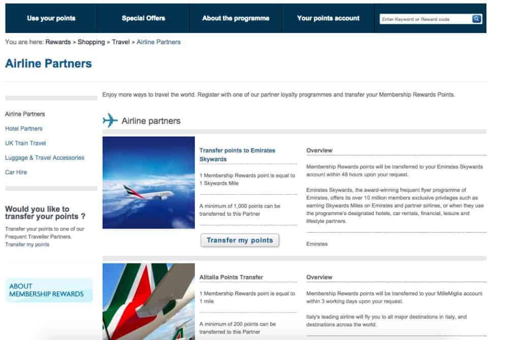 american express transferring points