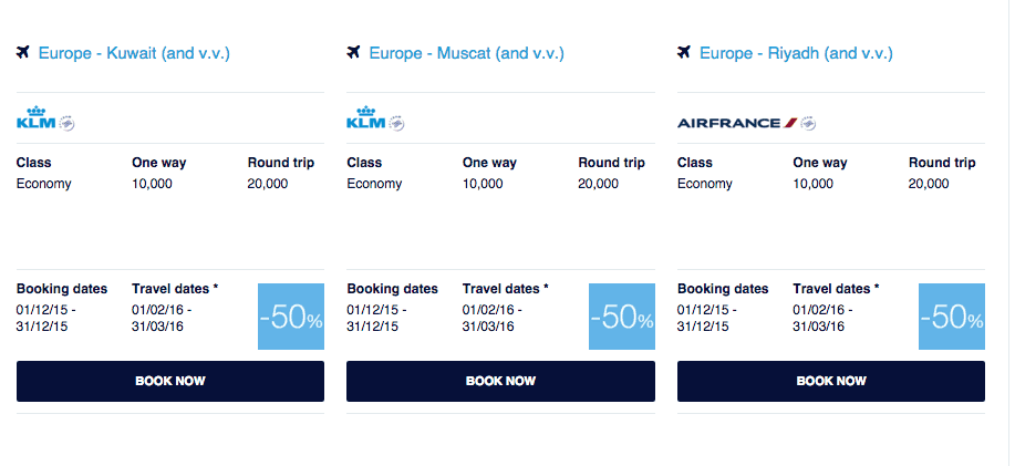 KLM Middle East promo