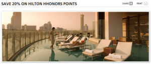 Hilton Offer Save 20% on Hilton Points Redemption When short