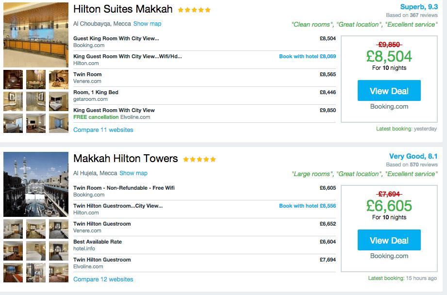 makkah- Paying £1,000 for a night in Makkah during Ramadan