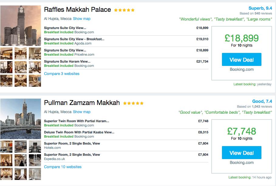Paying £1,000 for a night in Makkah during Ramadan