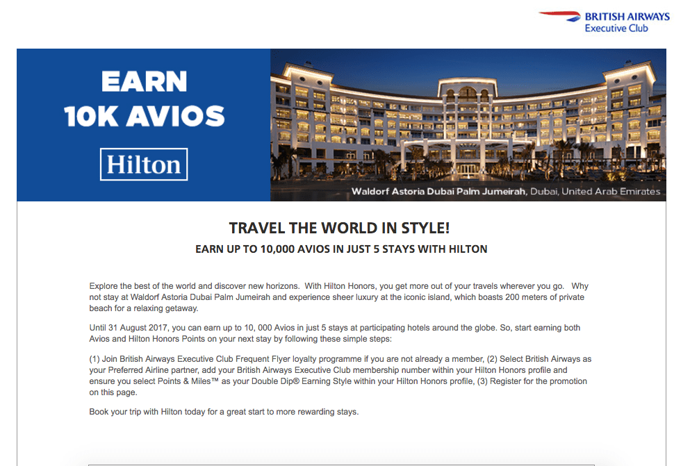 hilton and british airways promotion for 10k avios
