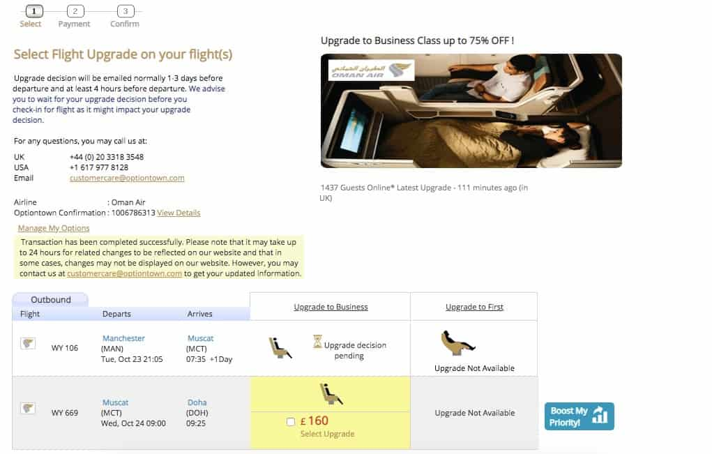 Oman Air Best way to upgrade to business class from economy1