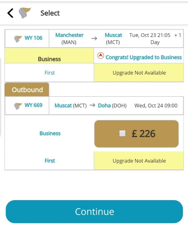 Upgrade offer from Oman air from Economy to business class