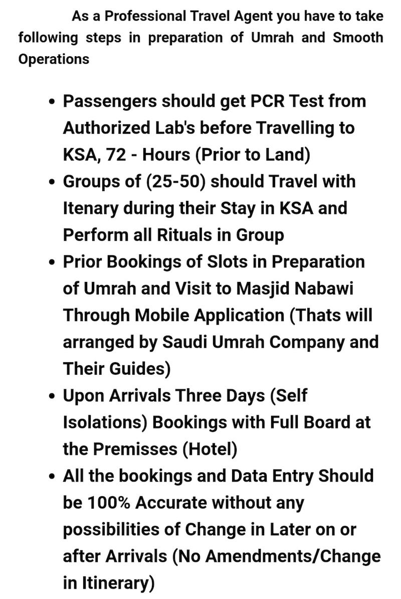new rules for Umrah from November 2020
