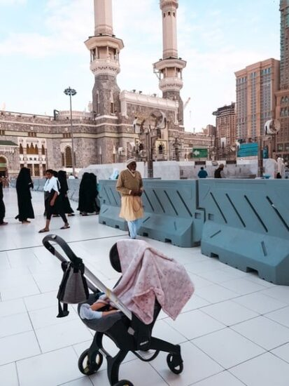 Doona infront of Haram while on umrah with a newborn