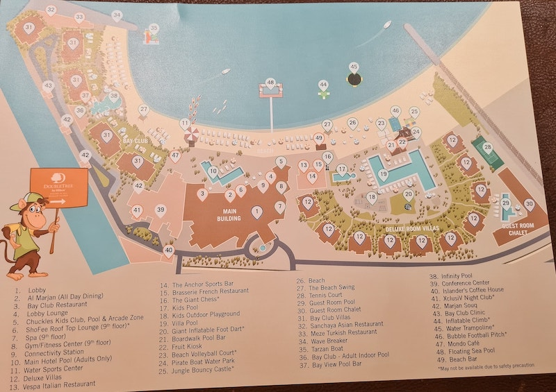The actual map of the Doubletree ras al Khaimah resort